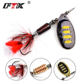 FTK Spinner Bait Fishing Lure Spoon 1pc Feather Saltwater Lure Accessories Treble Hook Metal Hard Lure Wobblers Tackle
