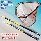 Fishing landing hand Nets 4M 3M 2.1M Folding Carbon rod Nylon Collapsible steel Tackle  tank Hole Depth Dipfor fishing