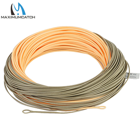 Maximumcatch Single handed Spey Fly Fihsing Line WF3F-8F 90ft With 2 welded loops peach/camo Fly Line Fishing Cord