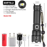 XHP90.2 Super Brightest LED Flashlight USB Rechargeable Torch XHP50.2 XHP70.2 Zoomable Hand Lamp 26650 18650 Battery Flash Light