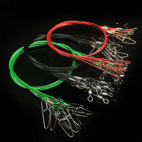 5Pcs 50cm Anti Bite Steel Fishing Leader Wire Steel Wire Leader Fishing Accessory Lead Core Leash Snap Fishing Line