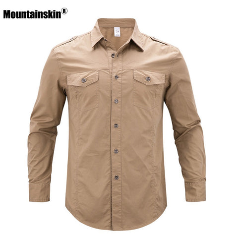 Mountainskin 5XL Men's Summer Cotton Shirt Outdoor Breathable Sports Fishing Clothing Trekking Hiking Camping Male Shirts VA235