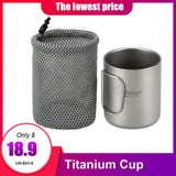 Lixada Camping Titanium Mug Double Wall Titanium Mug Outdoor Picnic Cookware Coffee Water Mug with Foldable Handle 220ml / 450ml