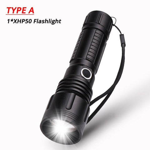 40000LM XHP50 Flashlight Powerful Zoomable LED Torch 5 Modes Rechargeable Lantern Long Distance Lighting 18650/26650 Battery