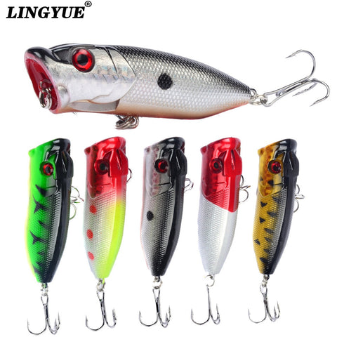 Hot 1pcs Fishing Lures 6.5cm/12g Topwater Popper Bait 5 Color Hard Bait Artificial Wobblers Plastic Fishing Tackle With 6# Hooks