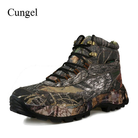 Cungel Outdoor Hiking shoes Men Camouflage Hunting boots Autumn/Winter Army Tactical Military Combat boots Waterproof Nylon