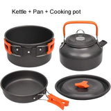 Camping Cookware Kit Outdoor Aluminum Cooking Set Water Kettle Pan Pot Travelling Hiking Picnic BBQ Tableware Equipment