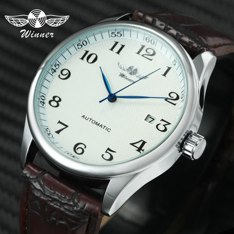 Fashion Business Automatic Watch Men Leather Strap Male Mechanical Wrist Watches Calendar Date Clock montre homme WINNER