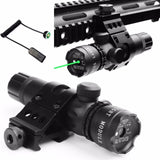 Rifle Scope Green Red Dot Laser Sight with QD 45 Degree Offset 25.4mm Ring 20mm Weaver Picatinny Rail Mount Remote Switch