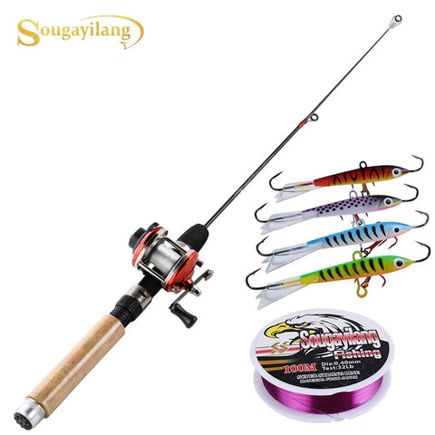 Sougayilang Ice Fishing Rod Set 67cm  Ice Rod with Mini 3 Color Trolling Reel  Shrimp Winter Fishing Lure Line Combo