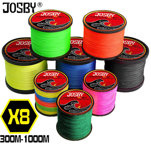 JOSBY Pesca Carp Fly Fishing line peche PE Braided Multifilamento Wire 8 Strands Accessories 300M 500M 1000M 22-120LB Cord New