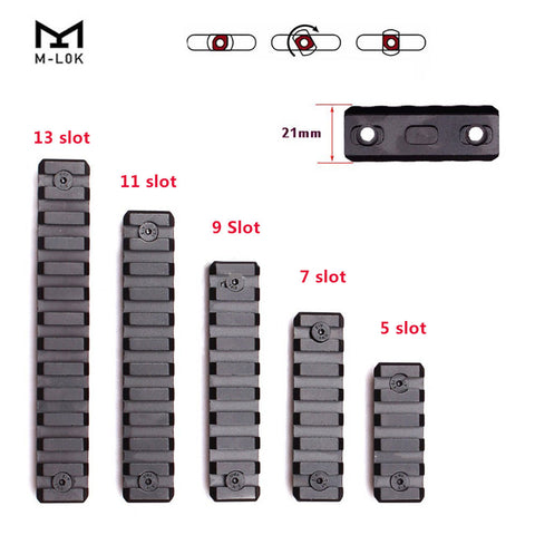 M-LOK Rail Mount Adapter 5/7/9/11/13 Slots Aluminum Picatinny Rail Sections 21mm Rifle Scope Mount MLOK Rail System Accessories