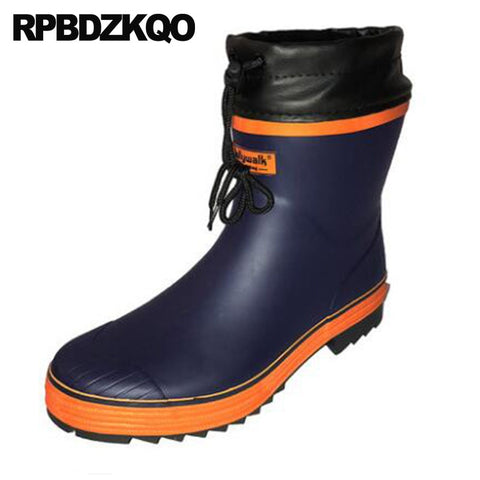 Mens Rubber Rain Boots Tall Shoes Blue Pvc Waterproof Chunky Black Cheap Red Green Platform Slip On Casual Rainboots Mid Calf