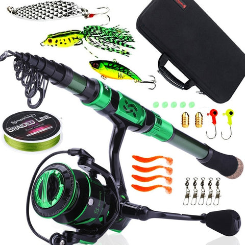 Sougayilang Top Quality Spinning Fishing Combo 1.8M-2.4M Telescopic Fishing Pole and 9+1BB Reel Fishing Bag Lure Line Full Sets