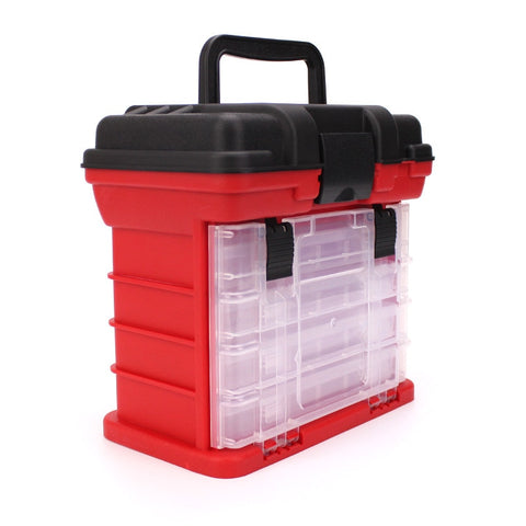 26*17*26cm Portable 5 Layer Big Fishing Tackle Box with Plastic Handle Fishing Lure Box Tools Fishing Accessories Case 4 Colors