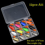 JYJ box package colorful 2.5 g 3g 3.4g 4.5g hard metal fishing spoon lure set walleye trout spoon baits spoon jig baits