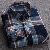 New Plaid Shirts for Male Plus Size Leisure Mens 100% Cotton Winter Warm Flannel Casual Checkered Over Size Shirt long Sleeve
