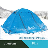 Flytop 4Seasons Camping Outdoor 2People Or 3Persons Double Layers Aluminum Pole Anti Snow Travel Family Tent With Skirt