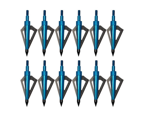 6/12/24 Pack 125 Grain 3 Fixed Blade Hunting Broadheads Archery Arrow Hunting Points Metal Tips for Compound Bow and Crossbow