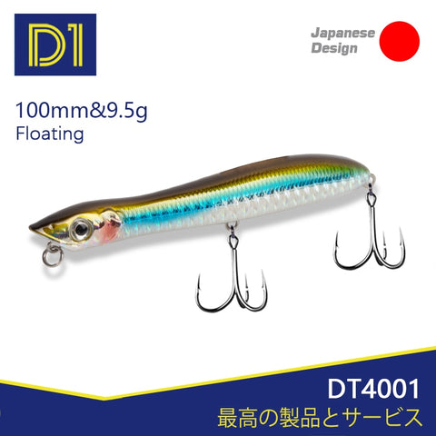 D1 popper&pencil fishing lure Snake head floating wobblers 100mm/140mm 9.5/26g High-quality artificial hard bait DT4001