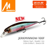 MRERDITH JERK MINNOW 100F 14g Hot Model Fishing Lure Hard Bait 24Color For Choose Minnow Quality Professional Depth0.8-1.5m