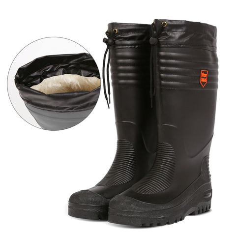 Black High Fishing Boots Men Water Shoes Rain Boots with Fur Winter High Boot Cotton Padded Boots Waterproof