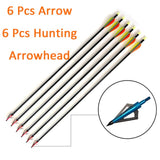 6/12PCS Fiberglass Arrows Spine 600-650 Length 31.8'' 81cm Drop-shaped TPU Feather for Achery Recurve Bow Shooting Hunting