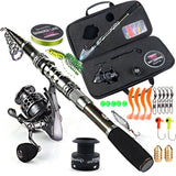 Sougayilang Fishing Rod and Reel Combo Telescopic Fishing Rod Spinning Reel with Free Spool Fishing Hooks Lure Line Bag Full Kit