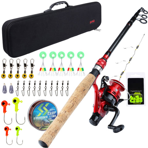 Sougayilang 1.8M-2.4M Carp Fishing Combo Spinning Feeder Rods and Carp Reel with Fishing Line Lure Hook Carrier Bag Full Kit