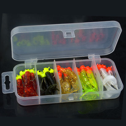 21Pcs/Lot Fishing Jigs Lures Sea Bass Soft Bait Jig Head Twirl Tails Worm Baits Fishing Tackles