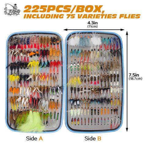 225pcs Wet Dry Fly Fishing Flies Lure Set Fly Tying Material  Wet hand tied Nymph Flies for Trout Pike