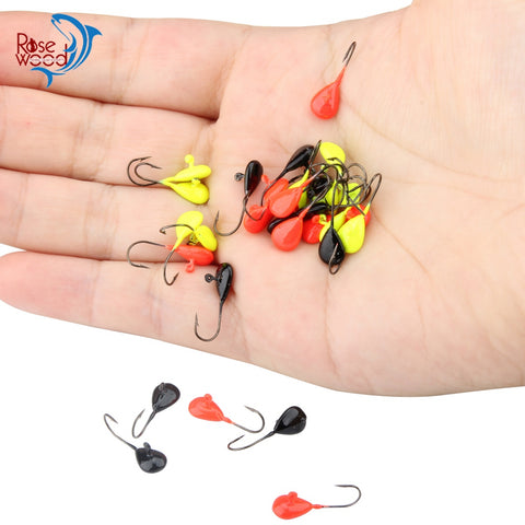 ROSEWOOD 12Pcs 0.5g/0.7g Freshwater Jig Heads, Assorted Bright Colors, Mini Metal Jigging Ice Jig Fishing Lures Sharp Hooks Bait