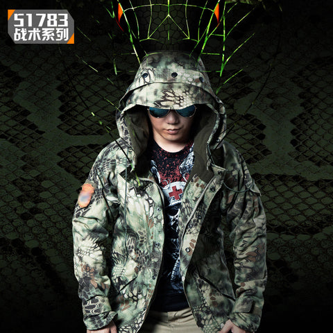 Mens Winter Faux Fleece Lining Camo Windbreaker 65% Polyester 35% Cotton Blend Military Python Snake Camouflage Tactical Jacket