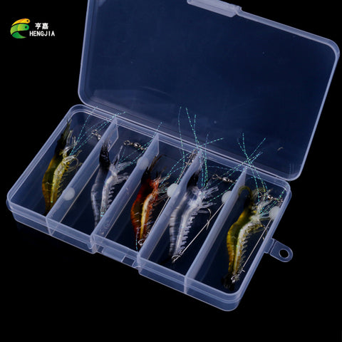 HENGJIA Grass Shrimp Soft Lures 6.6g 7.5CM Camarao Artificial Lure 5PCS Box Luminous Shrimp Bait