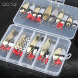 DONQL Mixed Colors Fishing Lures Spoon Bait Metal Lure Kit Sequins Noise Paillette with Feather Treble Hook Tackle Fishing Geer