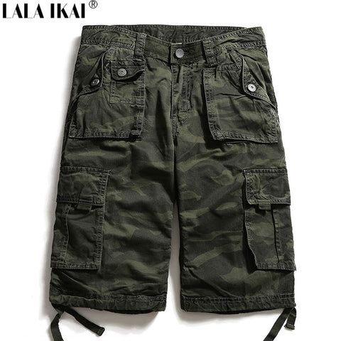 LALA IKAI Summer Tactical Shorts Men Loose Zipper Cotton Multi-pocket Military Outdoor Cargo Hiking Camping Shorts HMA0912-5