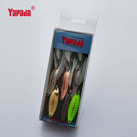 YAPADA Spoon 012 New Leech 2g-3g-5g  Multicolor Single HOOK+Feather 33mm-38mm-45mm 6piece/lot Metal Small Spoon Fishing Lures