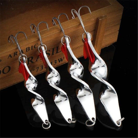 1PCS 10g 14g 21g 28g Rotating Metal Spinner Spoon Fishing Lure Hard Baits For Trout Pike Pesca Peche Treble Hook Tackle