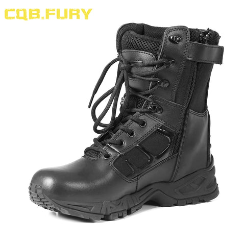 CQB.FURY Leather Mens Waterproof tactical Military Boots Black Wearable zipper Combat ankle Army Boots size 38-46 ZD-Jaguar