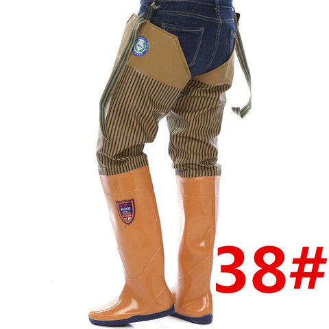 High-Jump Adjustable Fishing Waders Thicken 0.65mm Waterproof PVC Soft Boots Camouflage Hunting Fish Fishing Waders Pant+Boots