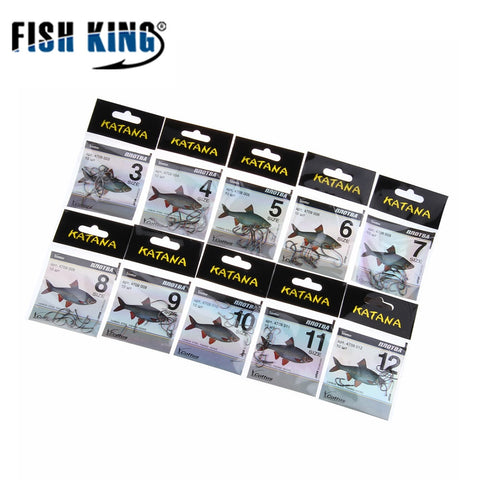 FISH KING Size3-Size12 KATANA 50pcs/lot Carbon Steel Fishing Hook With  Feeder Fishhook Fishing Tackle