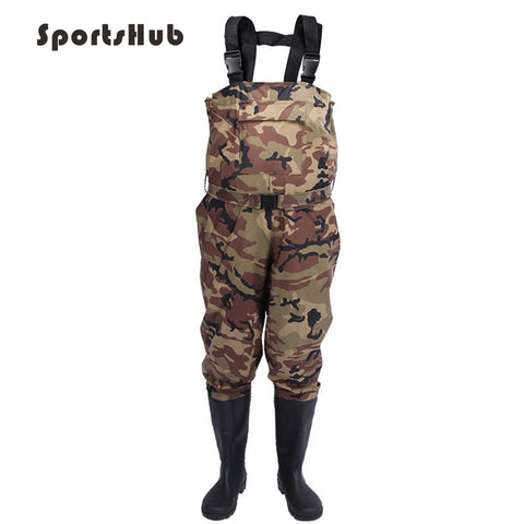 SPORTSHUB Durable Fishing Waders Outdoor Fly Fishing Stocking Foot Camouflage Waterproof Fishing Boots Pants FT0081