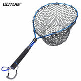 Goture Telescopic Fishing Landing Net Aluminum Alloy Frame Brail Small Rubber Mesh Magnetic Clip Lanyard Fly Fishing Net