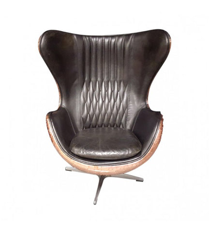 AVIATOR EGG CHAIR IN BLACK LEATHER AND COPPER