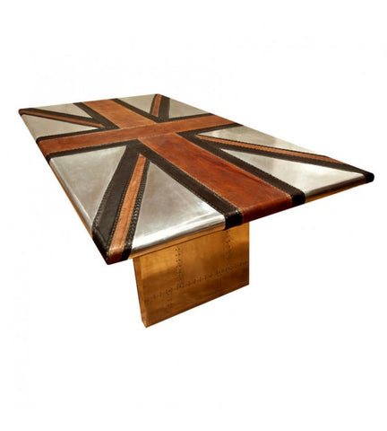 AVIATOR ALUMINIUM TABLE - LEATHER EDITION