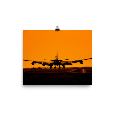 Sunset Airplane Premium Poster