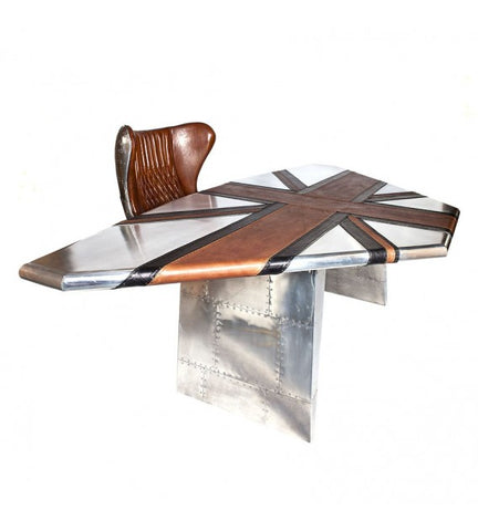 AVIATOR WING OFFICE DESK - LEATHER EDITION
