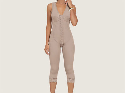 Model 4043CP - Precious Indiscernible Toning Capri Length Post-Op Body Shaper With High Back & Thighs Slimmer