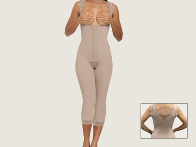 Model 4080CP - Divine Invisible Toning Open Bust Capri Length Bodysuit Shaper With Thighs/Legs Slimmer