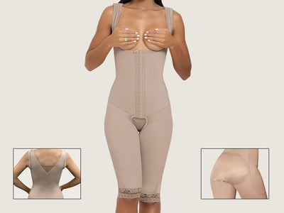 Model 4080FX - EXTREME BBL – Two Sizes In One Garment: Invisible Toning Post-Op Brazilian Butt Lift Body Shaper w/High Back And Thighs Slimmer